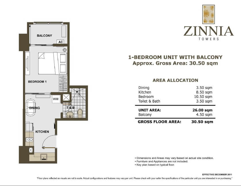 zinnia towers 1bedroom 30.50sqm