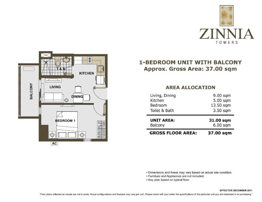 zinnia towers 1bedroom with balcony 37sqm
