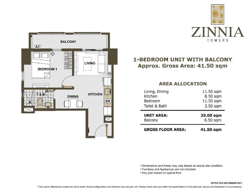 zinnia towers 1bedroom with balcony 41.50sqm
