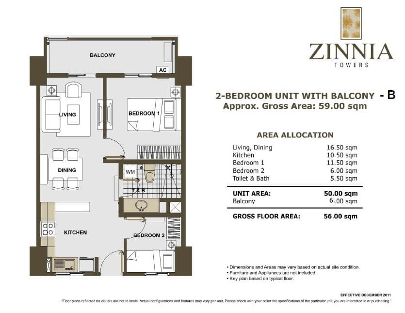 zinnia towers 2bedroom with balcony 56sqm