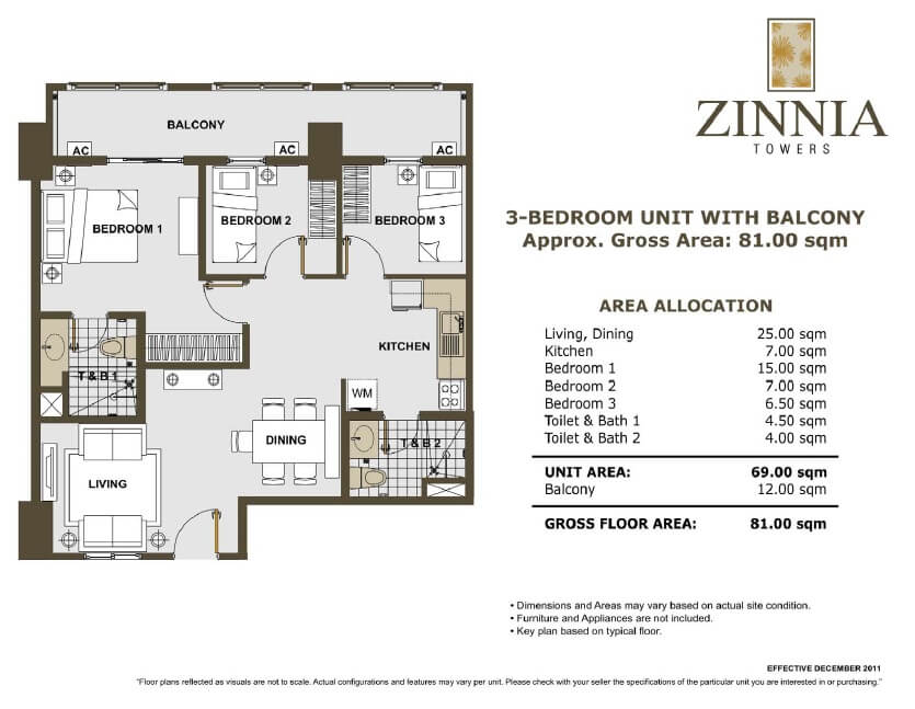zinnia towers 3bedroom with balcony 81sqm
