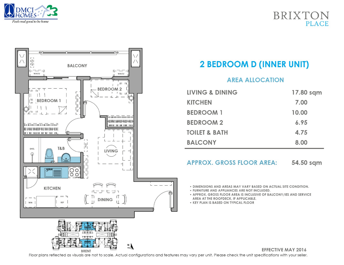 Brixton Place 2 Bedroom D 54.5 sq meters