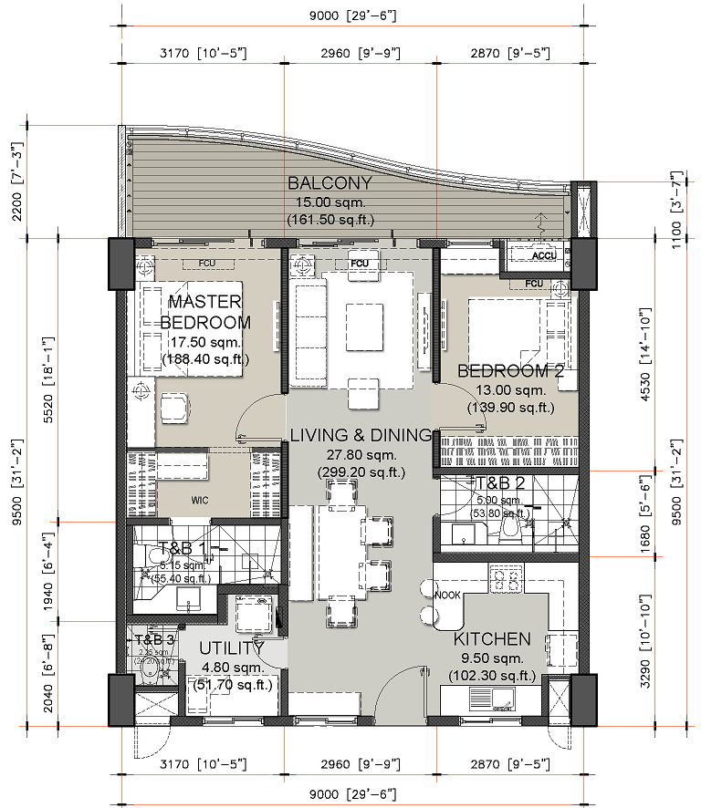 2 Bedroom Unit Layout Oak Harbor DMCI