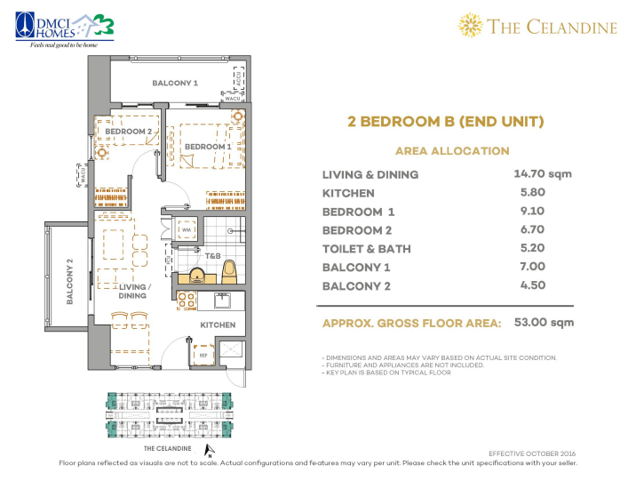Celandine 2 Bedroom B End 53 Sq Meters Layout Dmci Homes Website With Virtual Tour And Live Chat Support