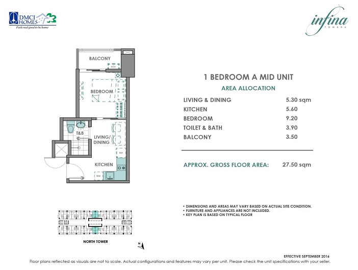 1 Bedroom A 27.5 sq meters