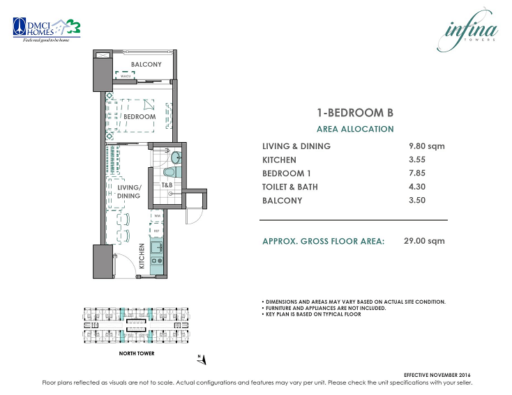 1 Bedroom B 29 sq meters