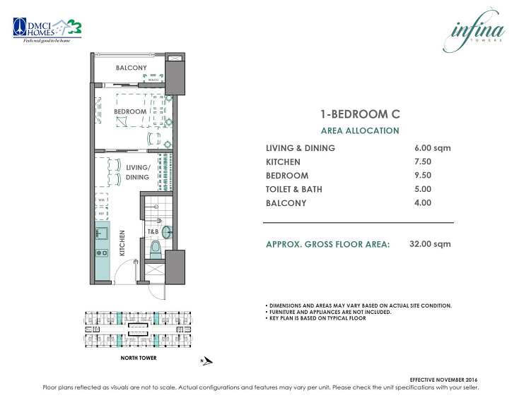 1 Bedroom C 32 sq meters