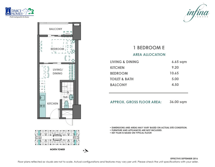 1 Bedroom E 36 sq meters