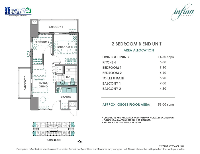 2 Bedroom B End unit 53 square meters infina Towers