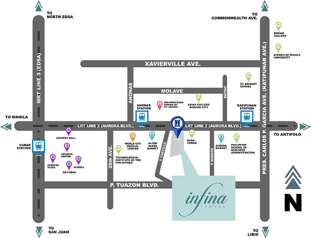 Location Map of Infina Towers Aurora Blvd