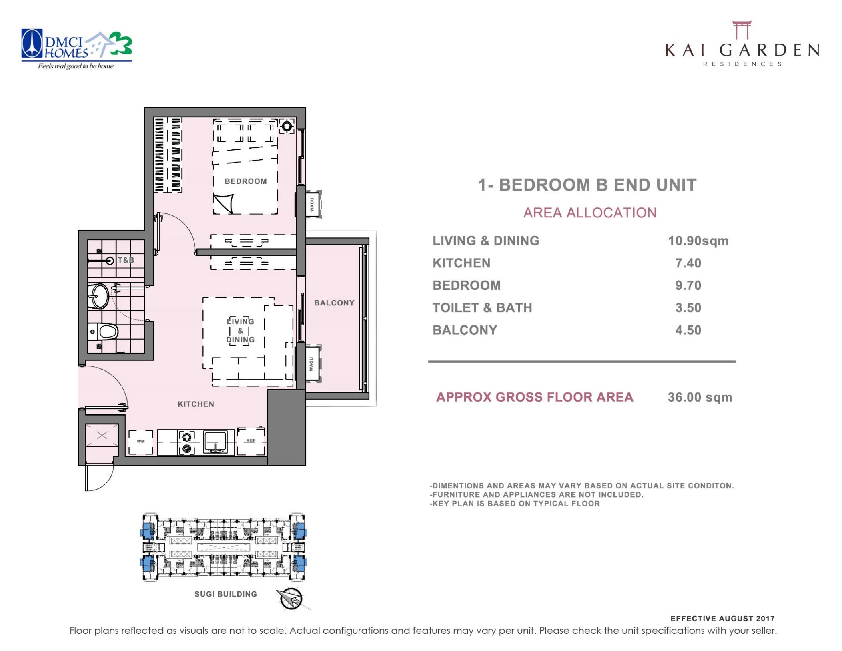 Kai 1 Bedroom B End Unit Layout 36 square meters