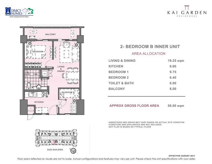 Kai 2 Bedroom B Unit Layout 56 square meters