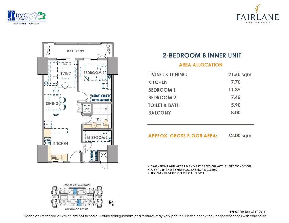 2 Bedroom B 62 sq meters Fairlane Unit Layout
