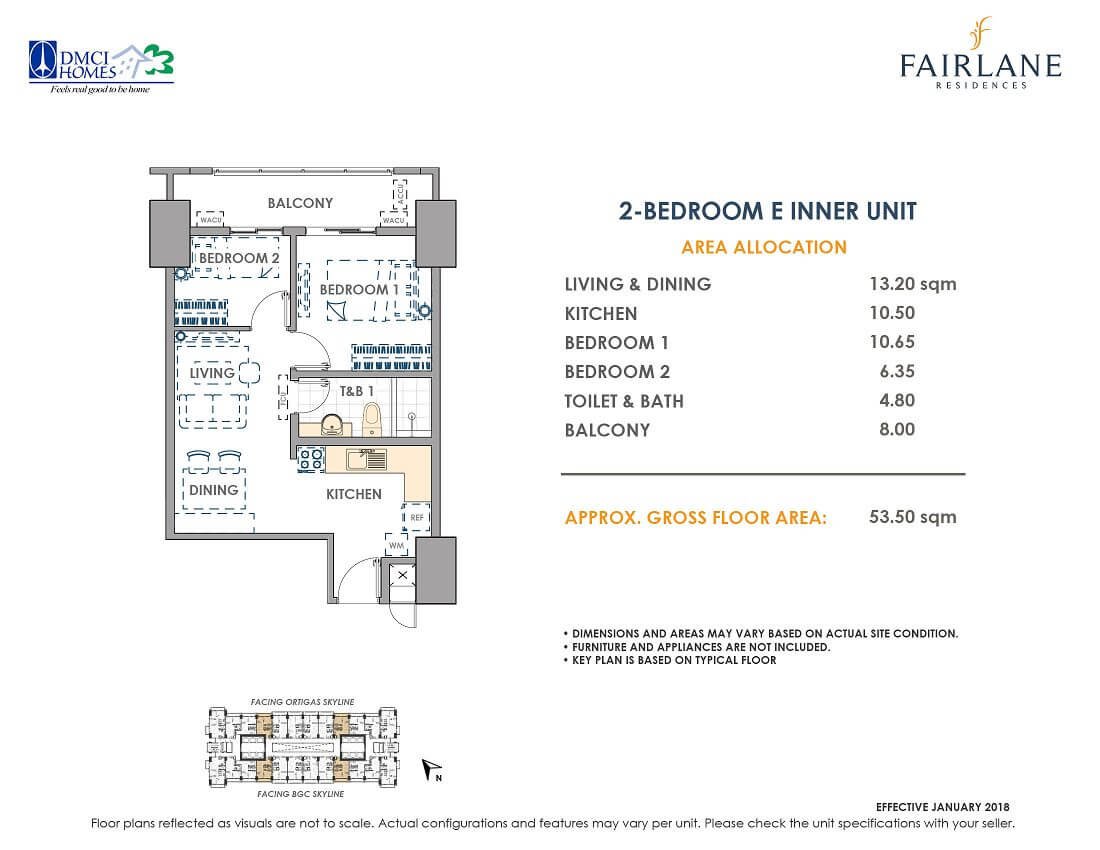 2 Bedroom E 53.5 sq meters Fairlane Unit Layout