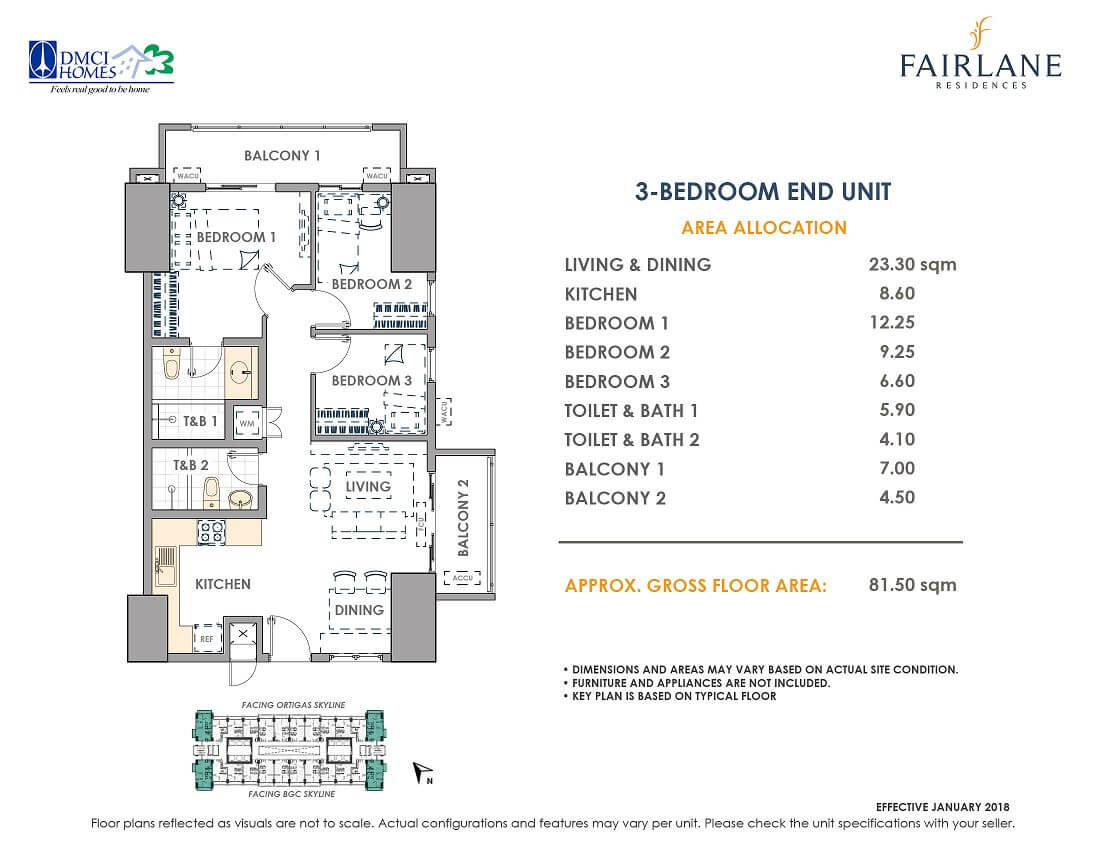 3 Bedroom 81.5 sq meters Fairlane Unit Layout