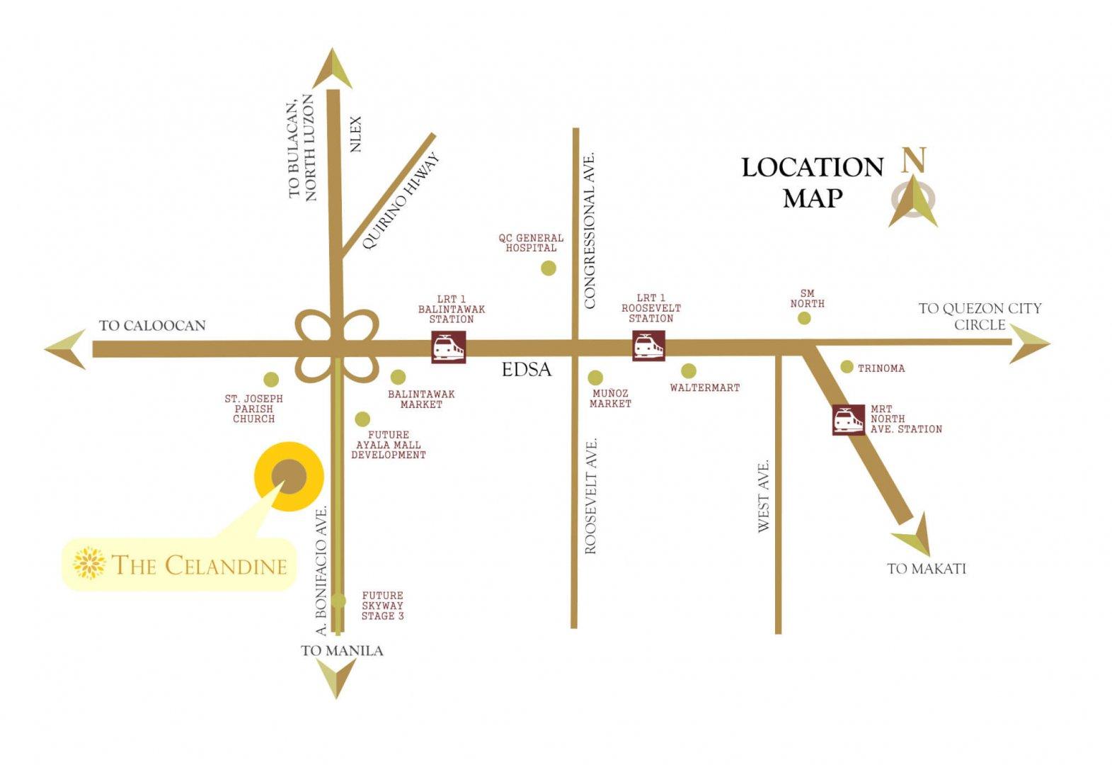 Celandine Location Map