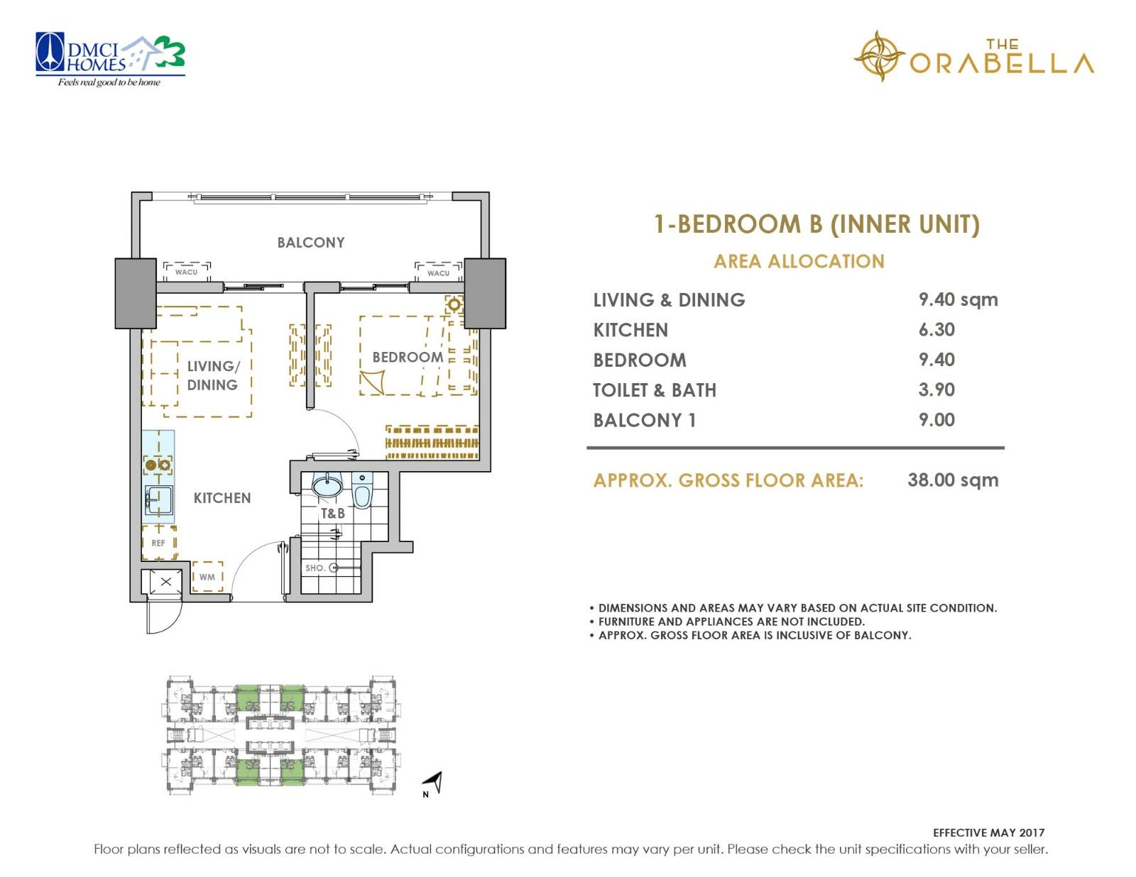 Orabella 1 Bedroom Unit Layout
