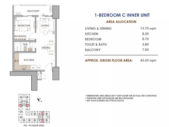 Aston 1 Bedroom C 43.5 sq meters