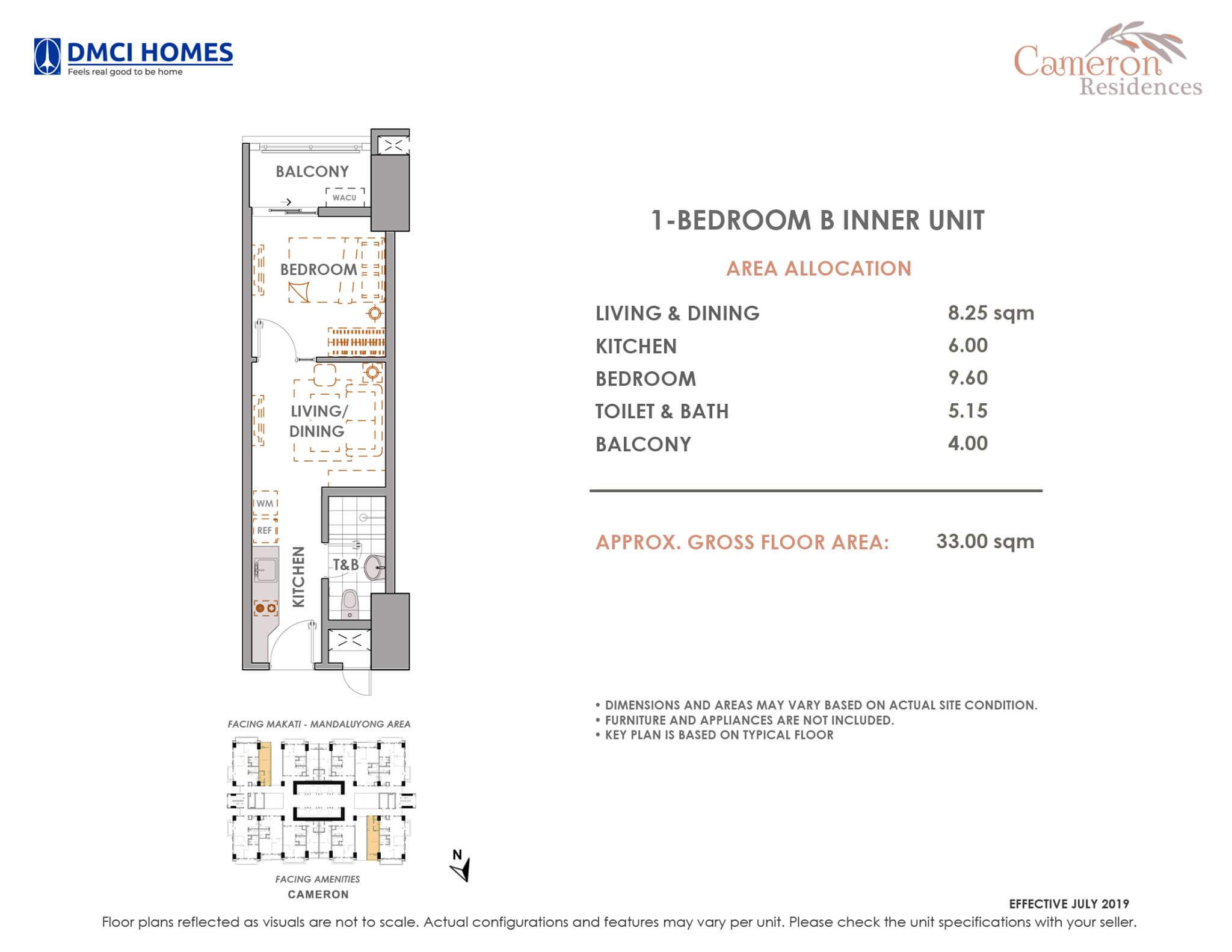 Cameron DMCI 1 Bedroom B Unit Layout
