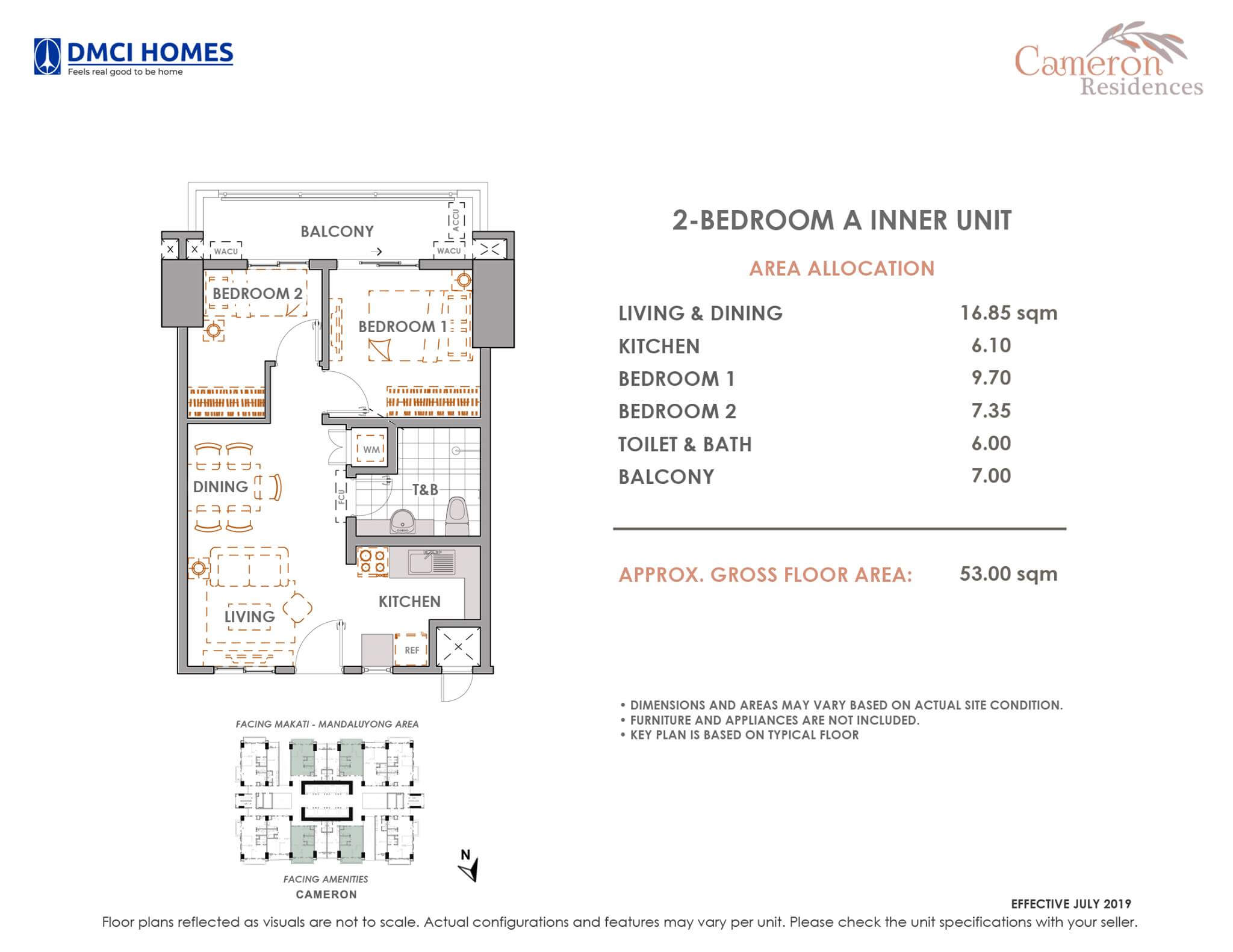 Cameron DMCI 2 Bedroo A Unit Layout