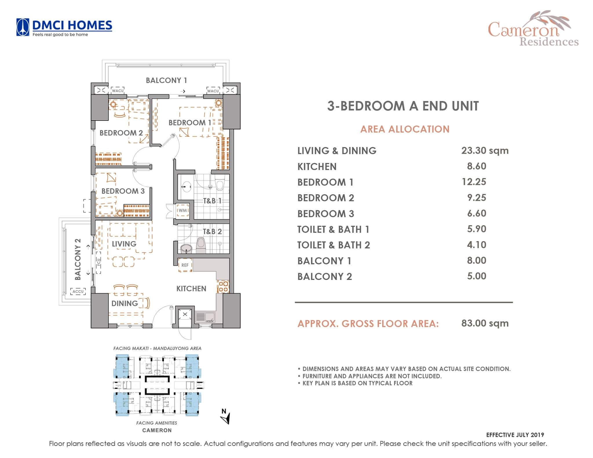 Cameron DMCI 3 Bedroom Unit Layout