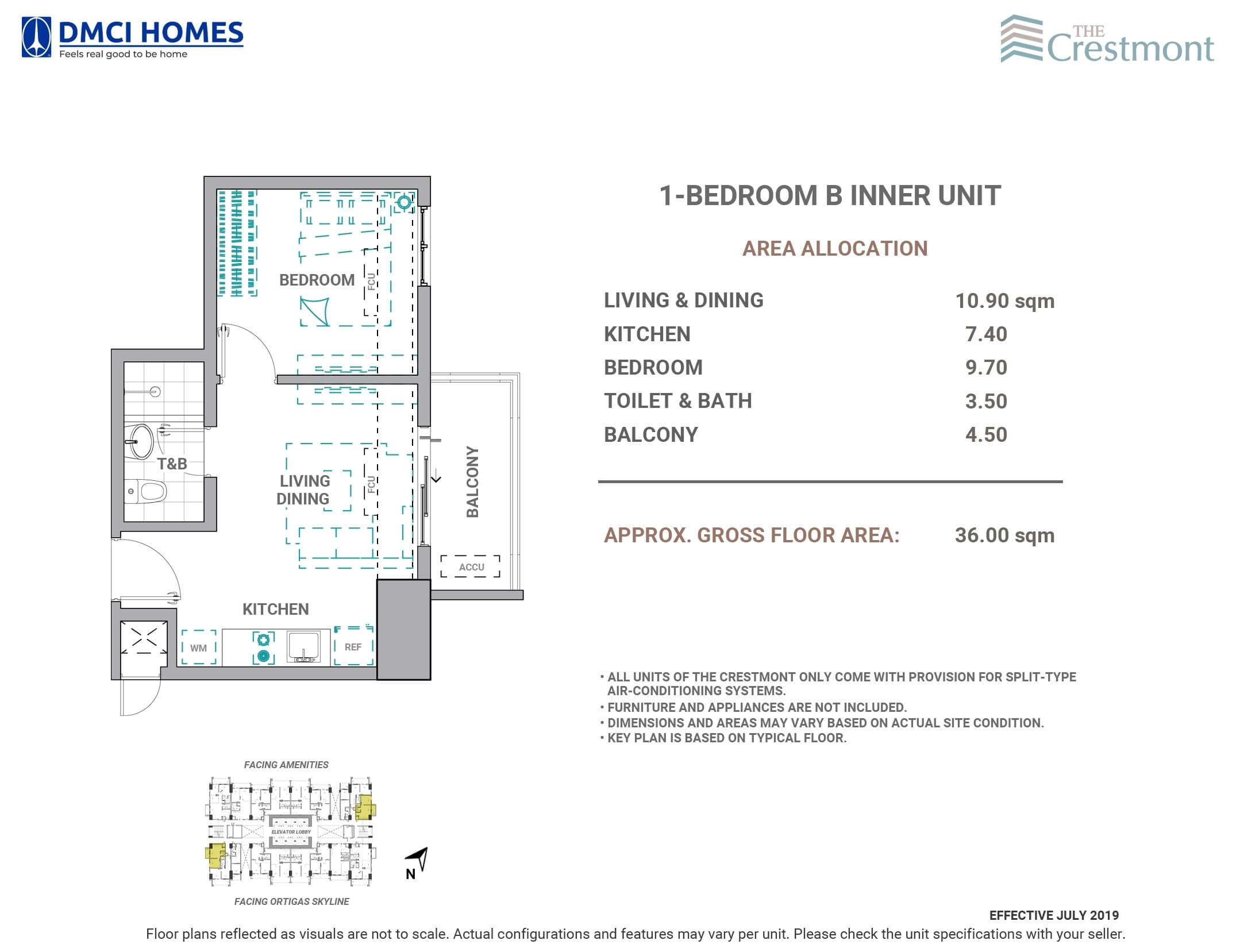The Crestmont 1 Bedroom B Unit Layout