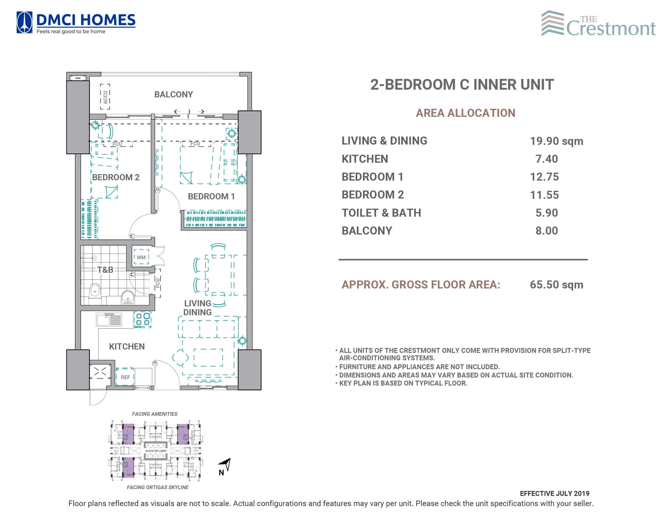 The Crestmont 2 Bedroom C Unit Layout
