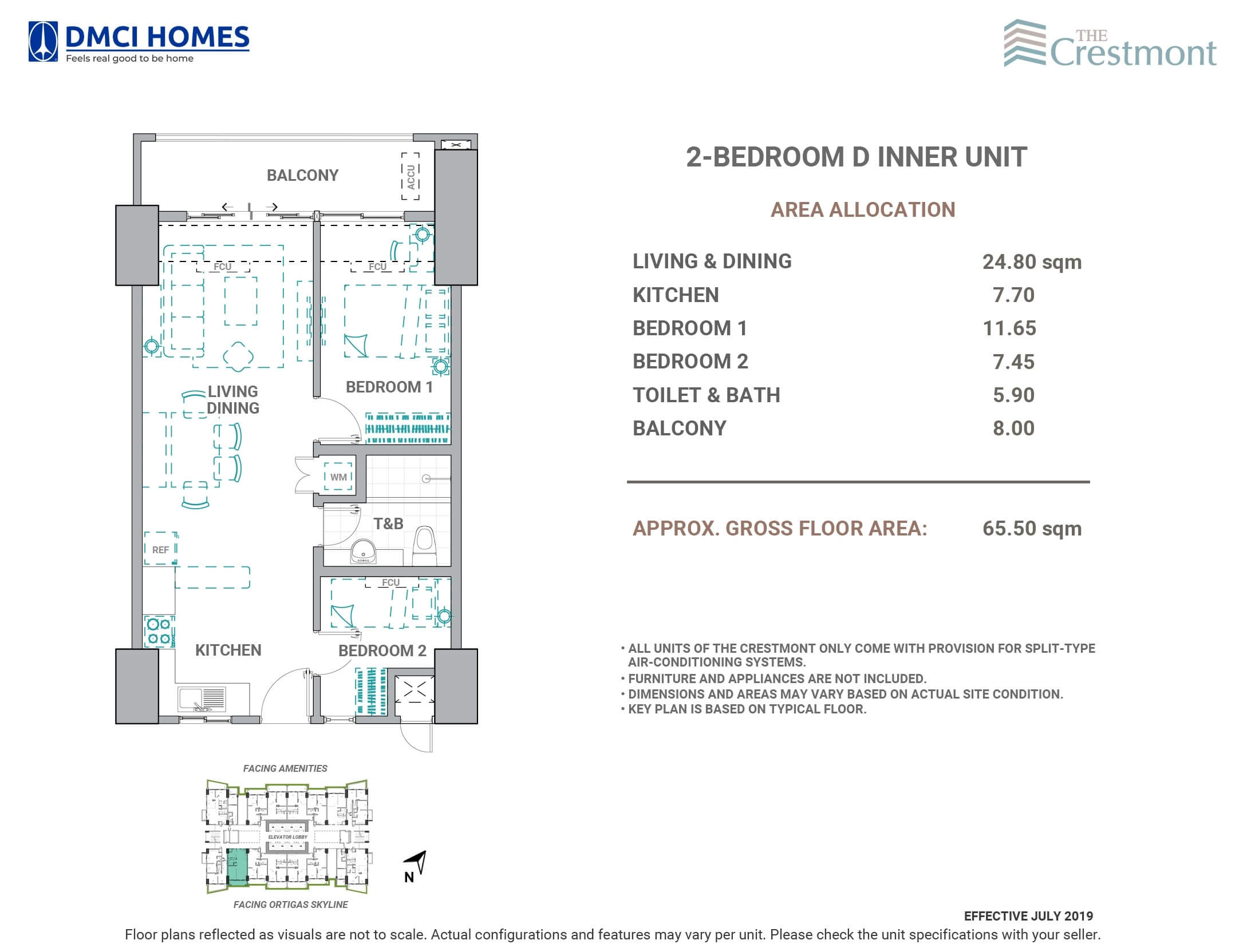 The Crestmont 2 Bedroom D Unit Layout